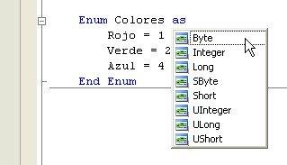 Los tipos subyacentes posibles de una enumeración