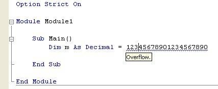 Error de desbordamiento al intentar asignar un valor Double a una variable Decimal